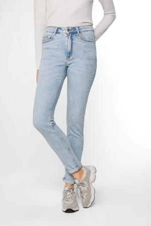 high waist skinny jeans bleached denim
