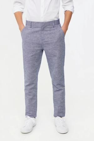 skinny broek met visgraat blauw