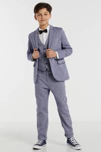 WE Fashion skinny broek met visgraat blauw, Blauw