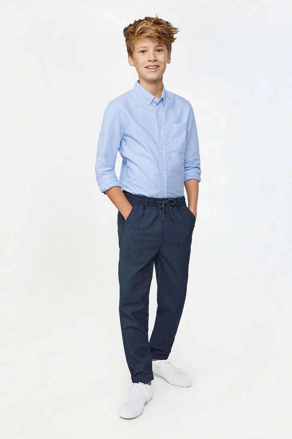 WE Fashion gestreepte skinny broek donkerblauw/wit, Donkerblauw/wit