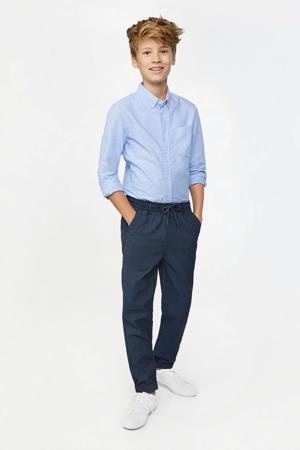 gestreepte skinny broek donkerblauw/wit
