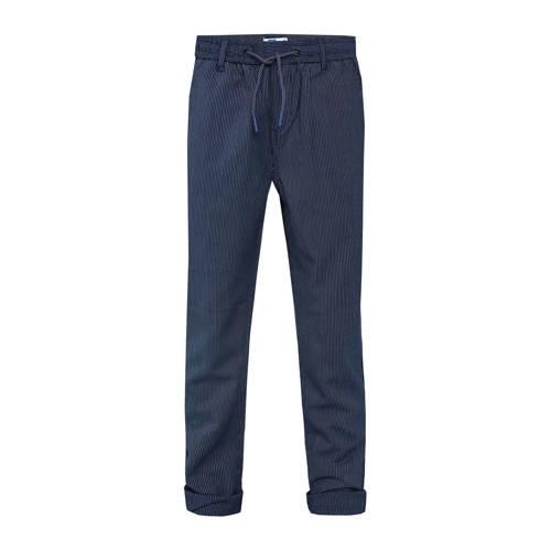 WE Fashion gestreepte skinny broek donkerblauw/wit