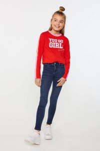 WE Fashion longsleeve met tekst rood/wit/lichtroze, Rood/wit/lichtroze
