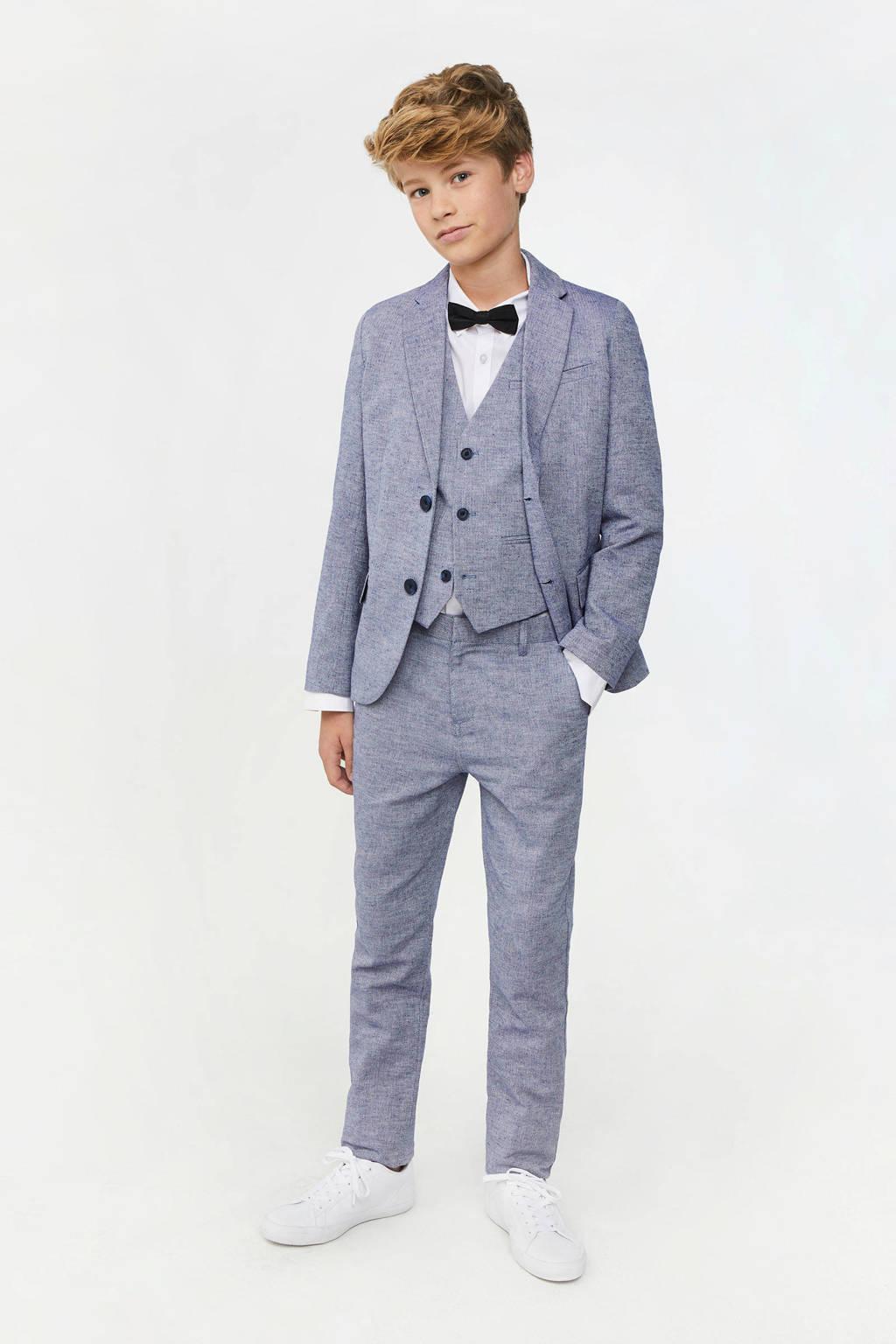 WE Fashion colbert met visgraatdessin blauw, Blauw