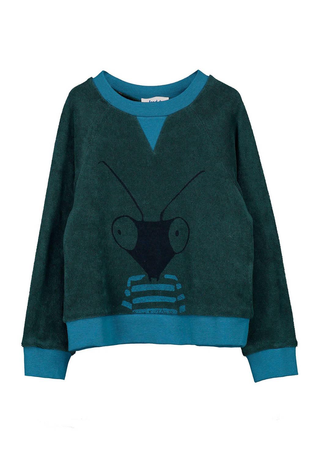 fred + ginger badstof sweater Tobe met printopdruk donkergroen, Donkergroen