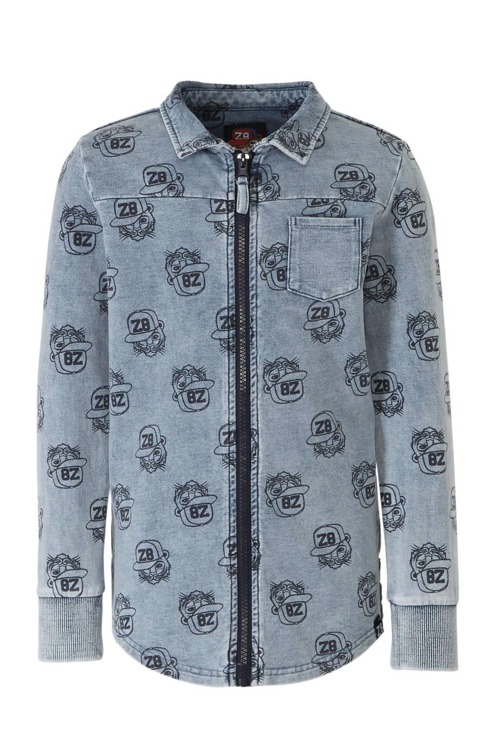 Z8 overhemd Baas met all over print denim blauw, Denim blauw