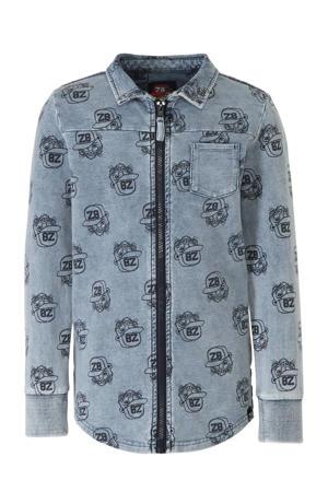 overhemd Baas met all over print denim blauw