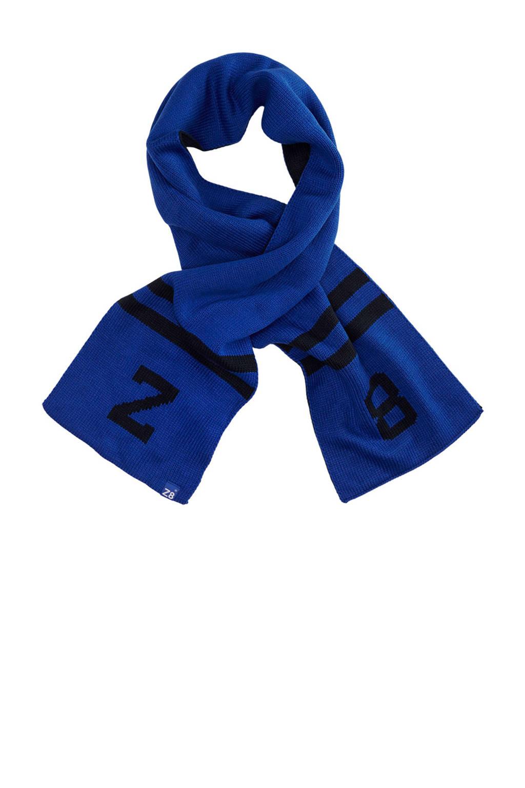 Z8 sjaal Tobias met logo blauw, Blauw