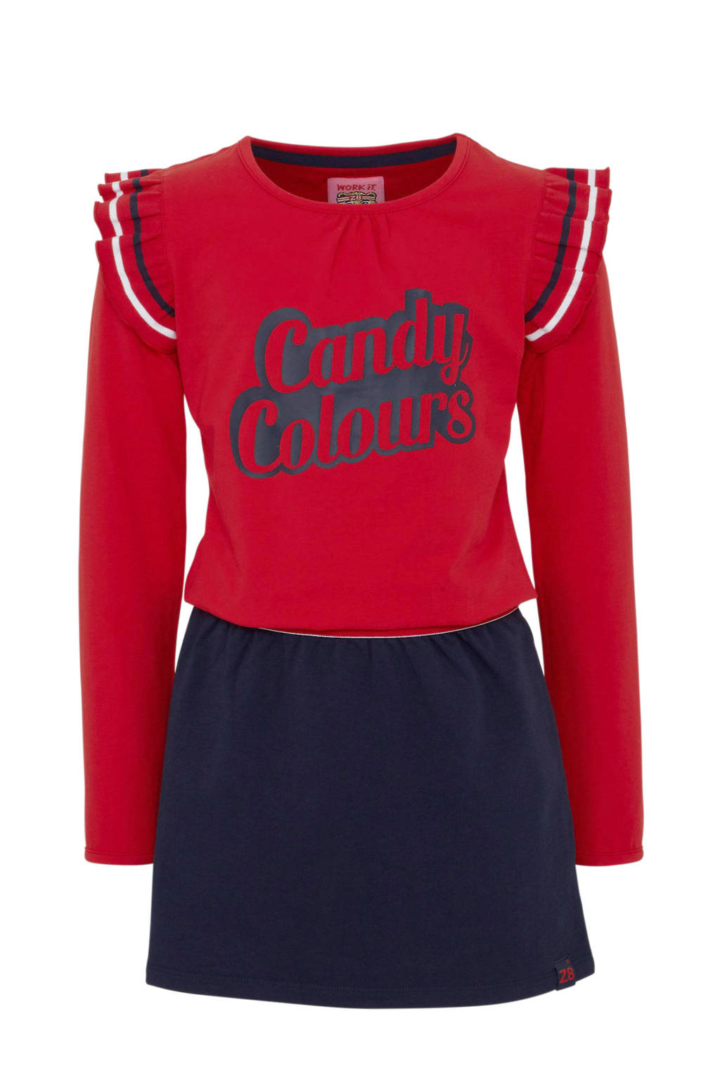 Z8 jersey jurk Ashley met tekst en ruches rood/blauw, Rood/blauw