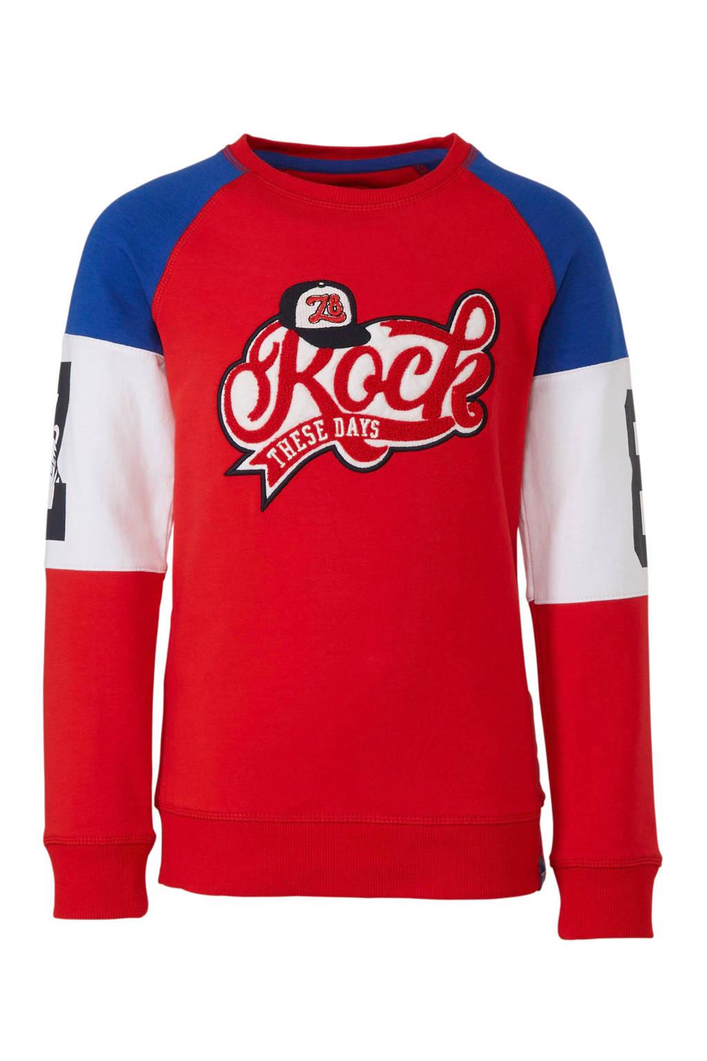 Z8 sweater Donald met tekst rood, Rood
