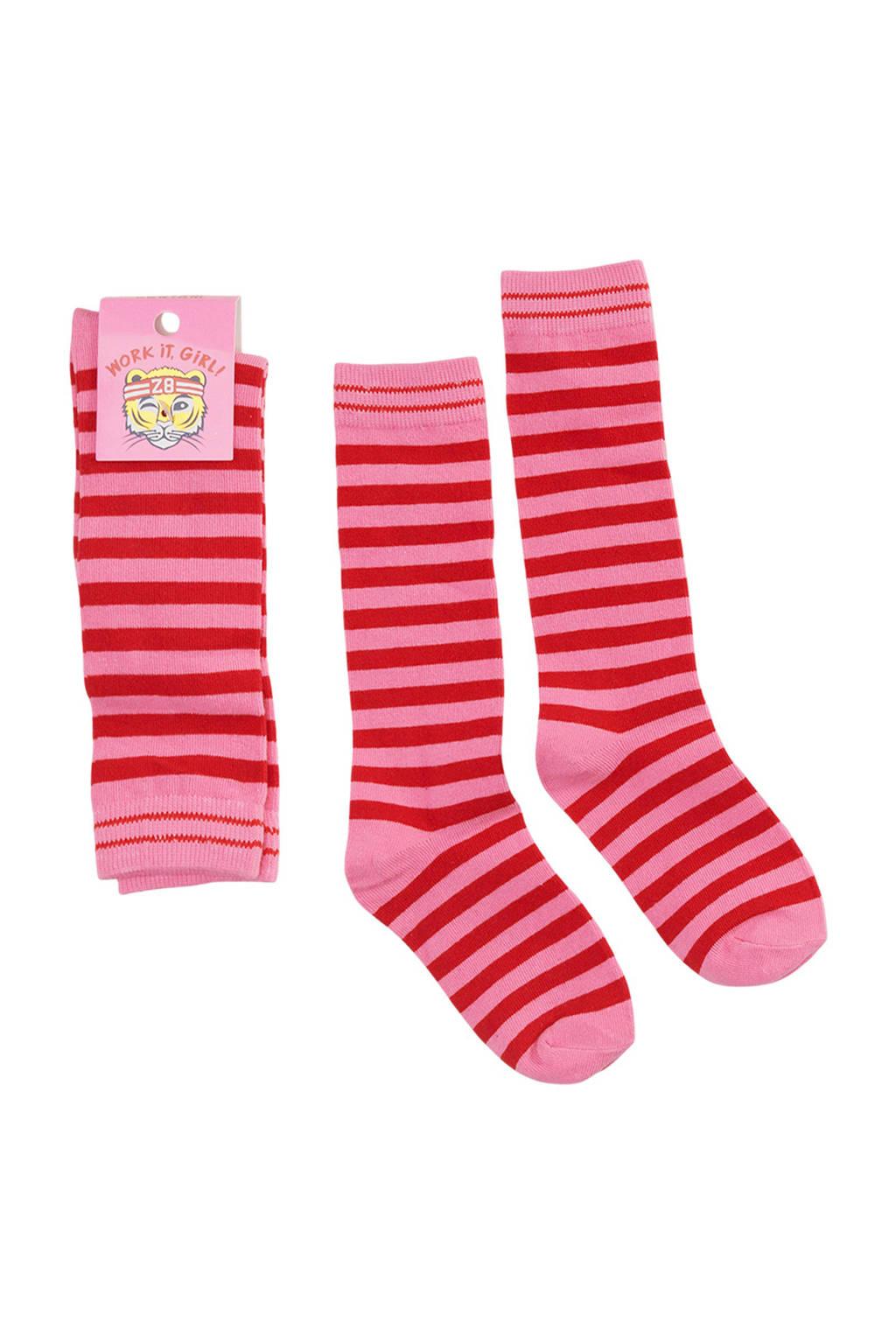 Z8 gestreepte sokken Valerie, Roze/rood