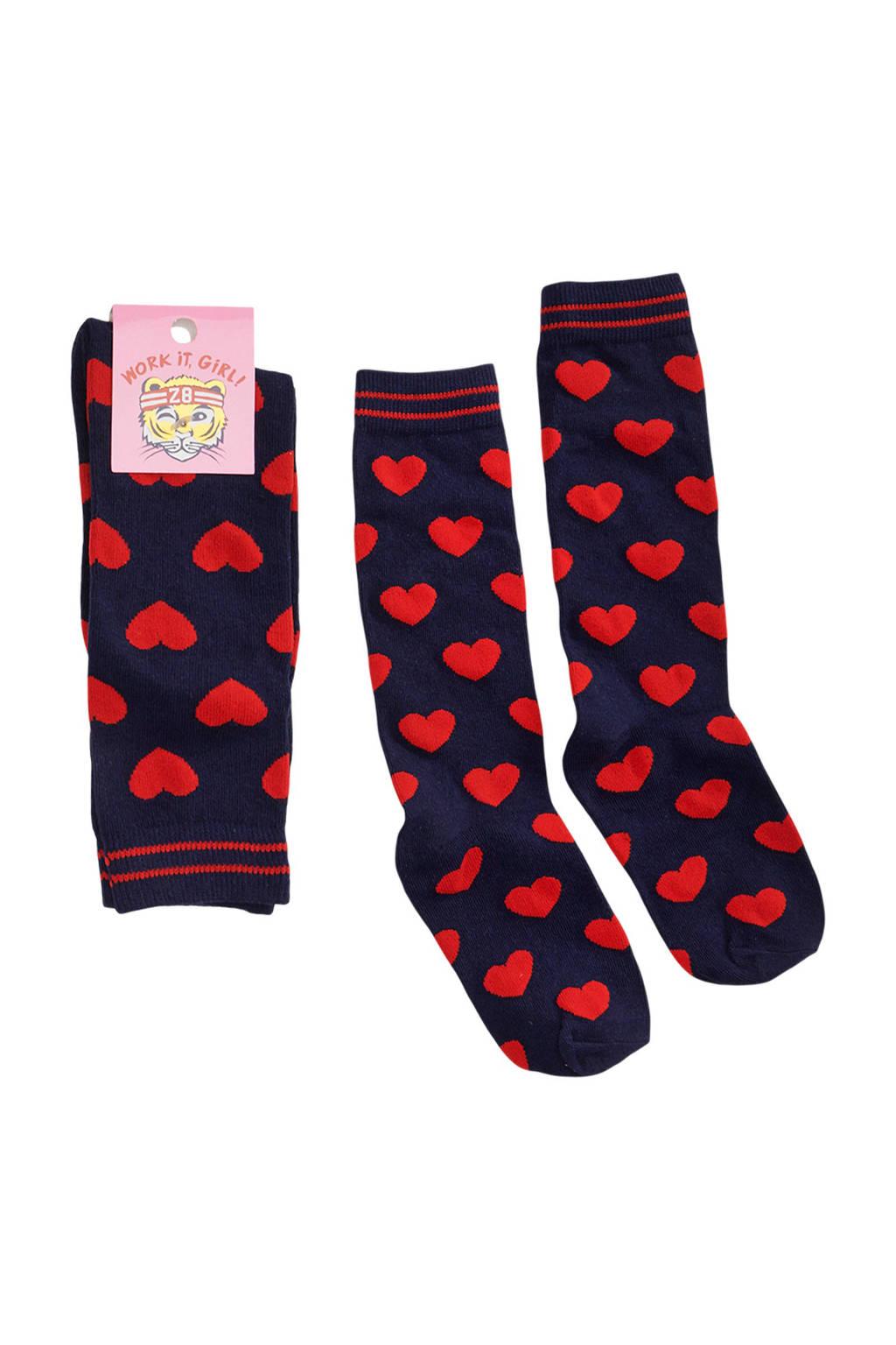 Z8 sokken Valerie met hartjes, Blauw