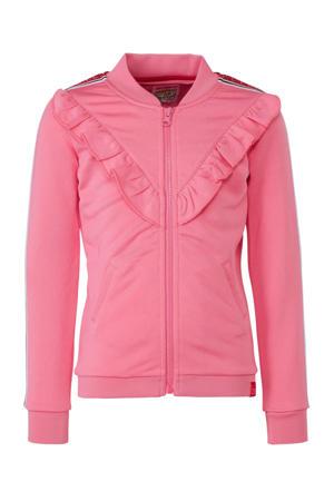 vest Candice met contrastbies roze
