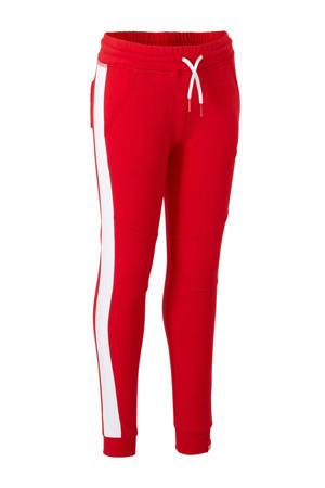 joggingbroek Siem met zijstreep rood