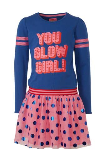 jersey jurk Jennefer met tekst blauw/roze