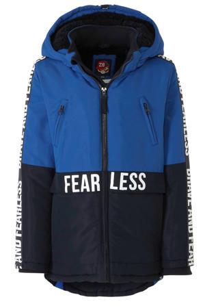 winterjas Demian met tekst blauw/donkerblauw