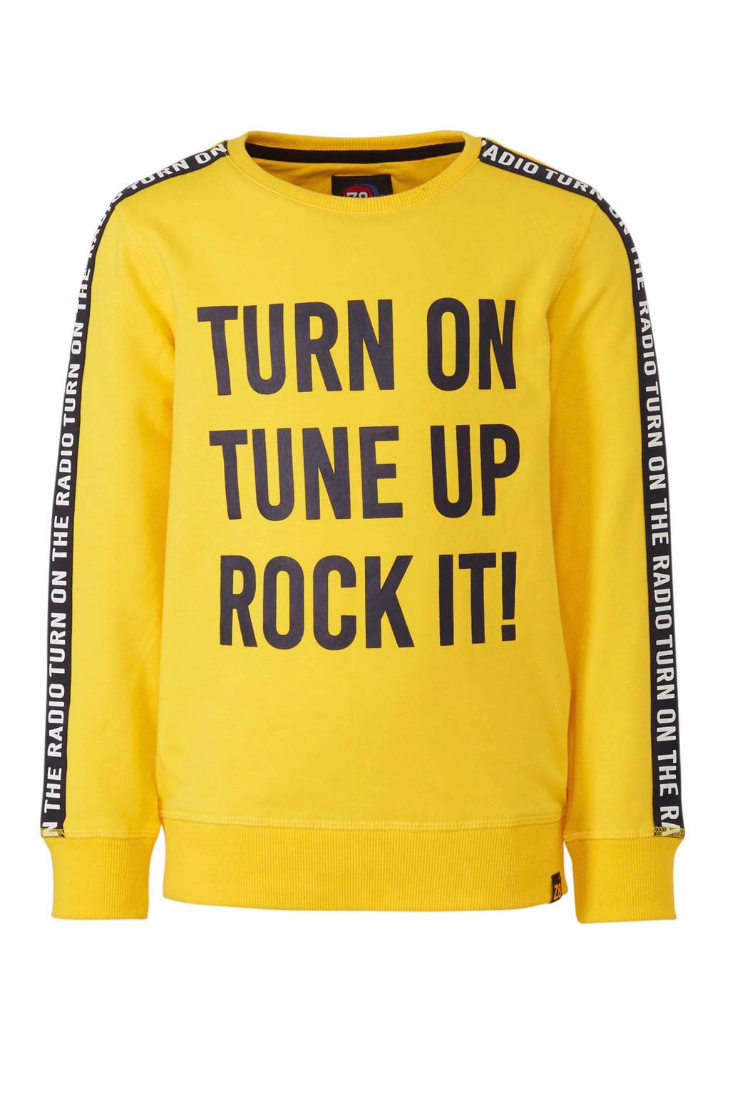 Z8 sweater Vic met contrastbies geel, Geel