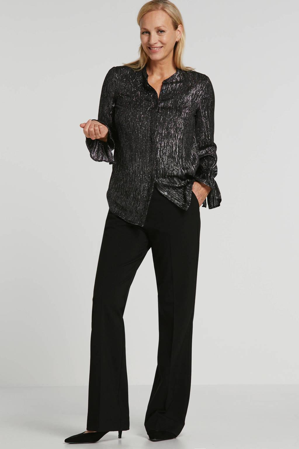 Fabienne Chapot blouse met glitters grijs, Grijs