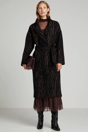 wollen coat Santo met all over print en ceintuur bruin/zwart
