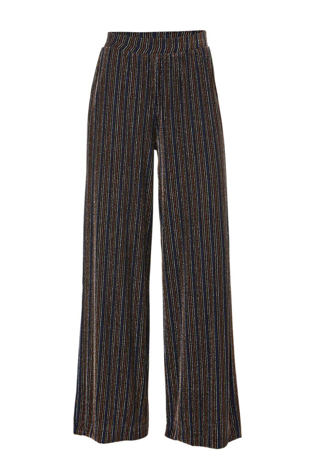 EDITED high waist loose fit broek Daithi met all over print zwart/blauw/rood, Zwart/blauw/rood