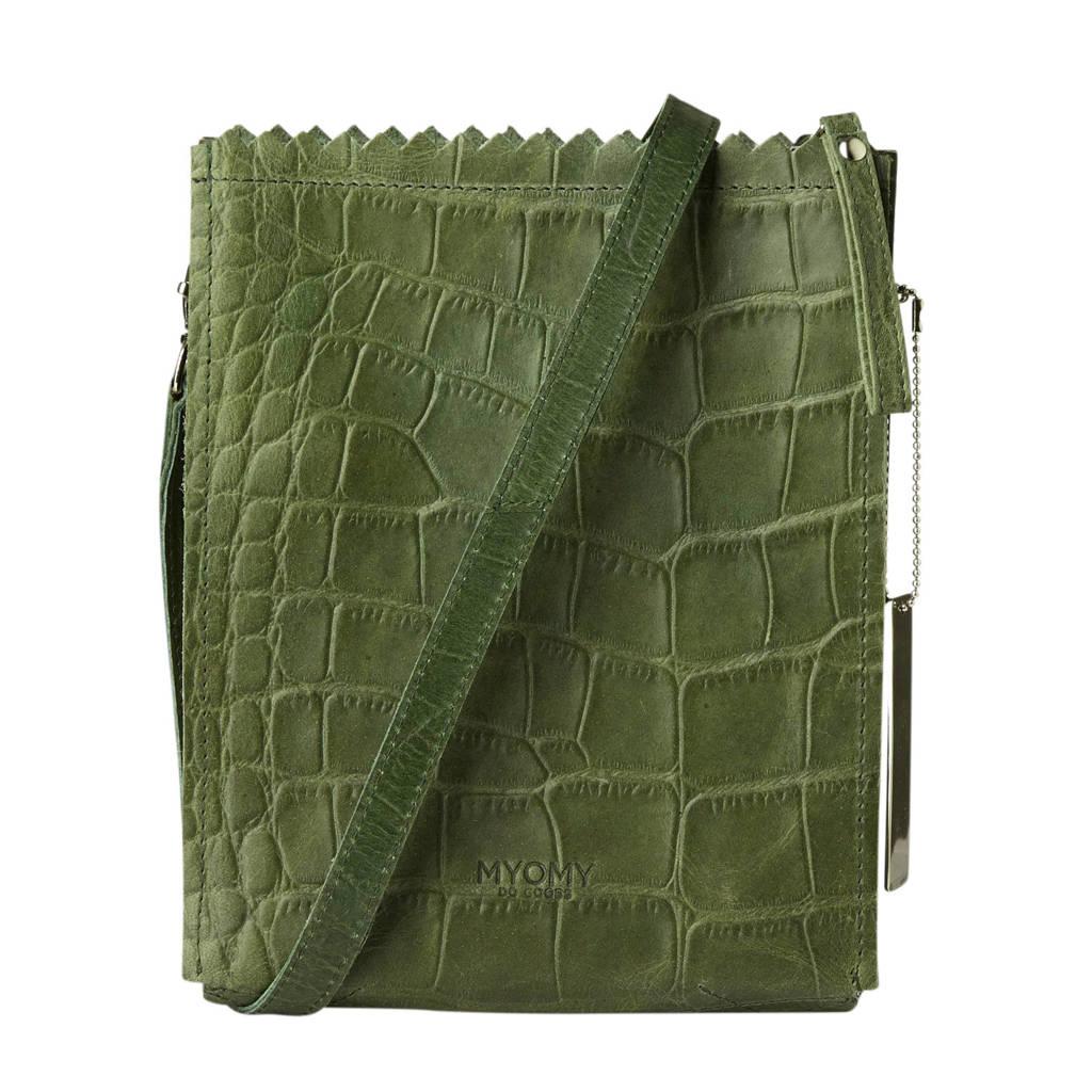 MYOMY MY PAPER BAG  leren schoudertas  Baggy croco groen, Groen