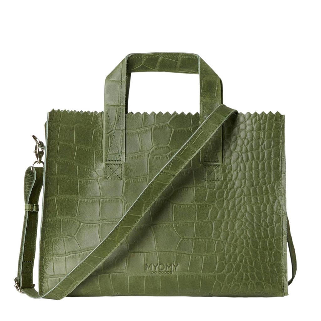 MYOMY MY PAPER BAG leren crossbody tas groen, Groen