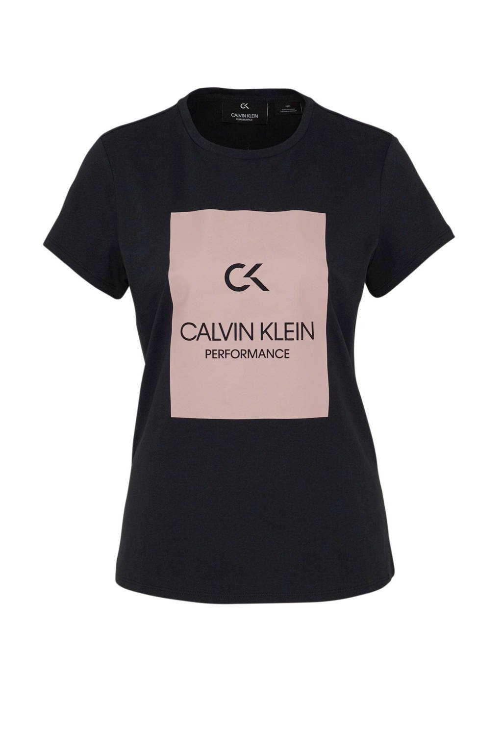 Calvin Klein Performance sport T-shirt zwart/roze, Zwart/roze