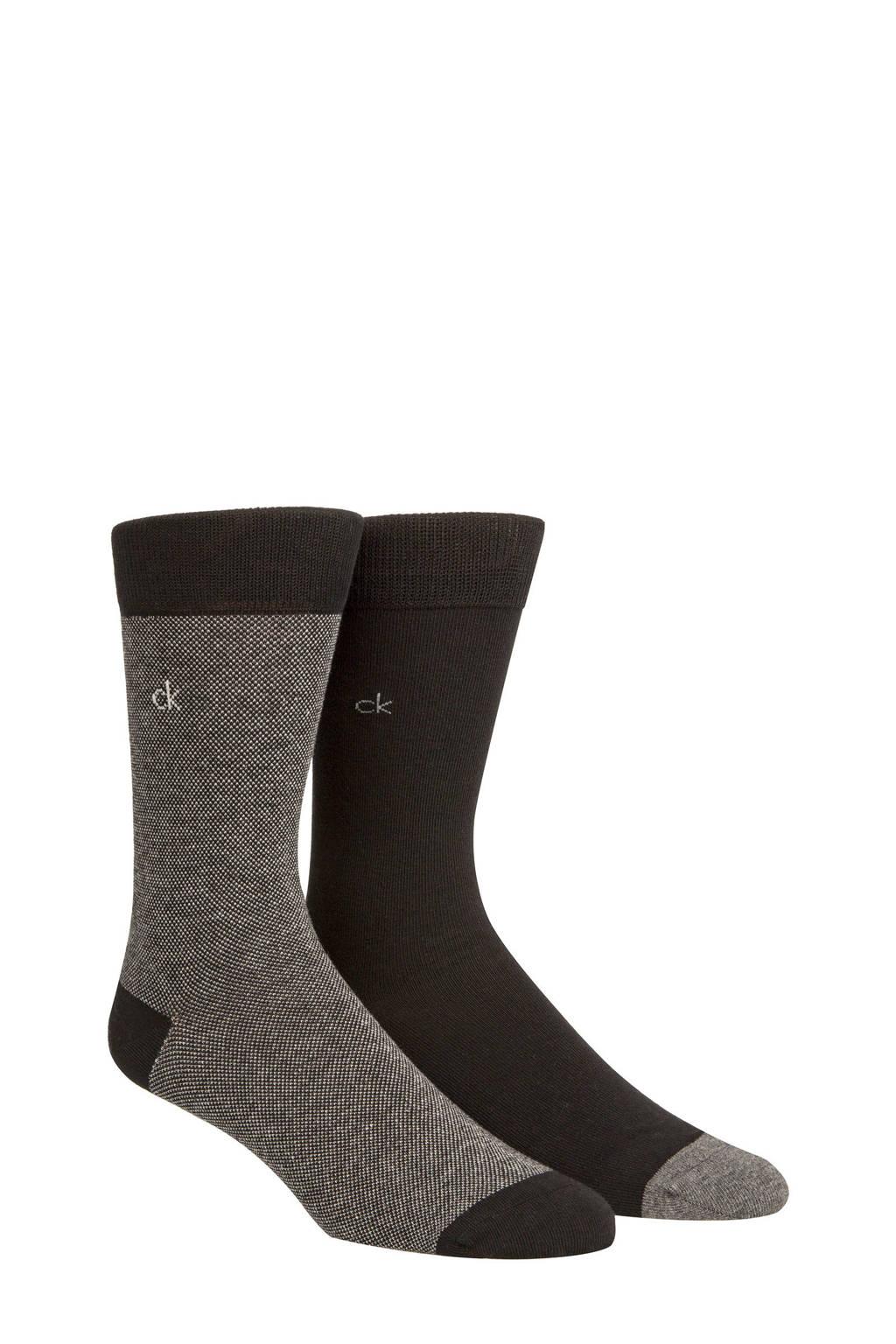 CALVIN KLEIN sokken zwart (2 paar), Zwart/grijs