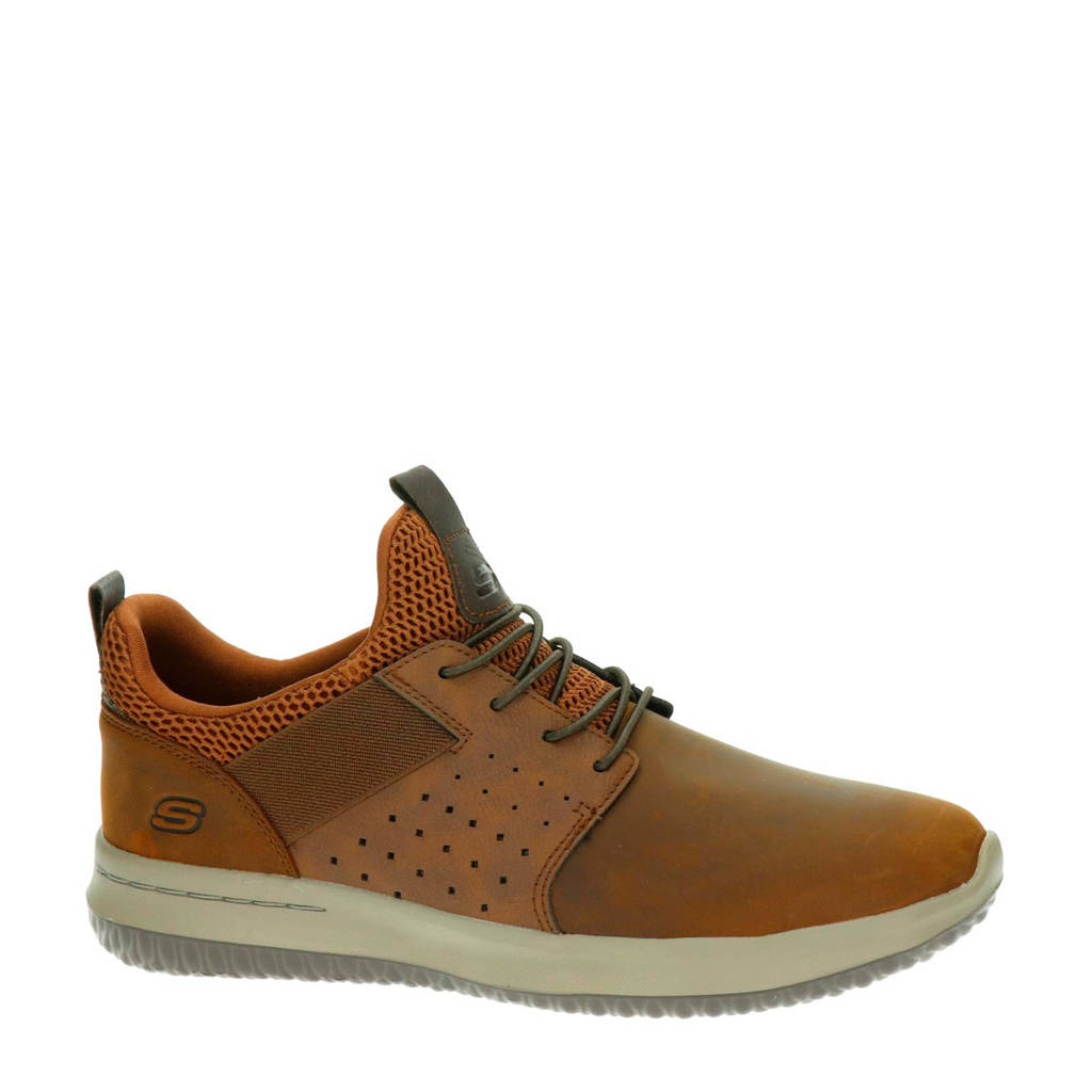 Skechers   leren sneakers bruin, Bruin