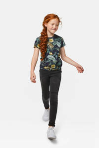 WE Fashion T-shirt met all over print donkerblauw/groen, Donkerblauw/groen