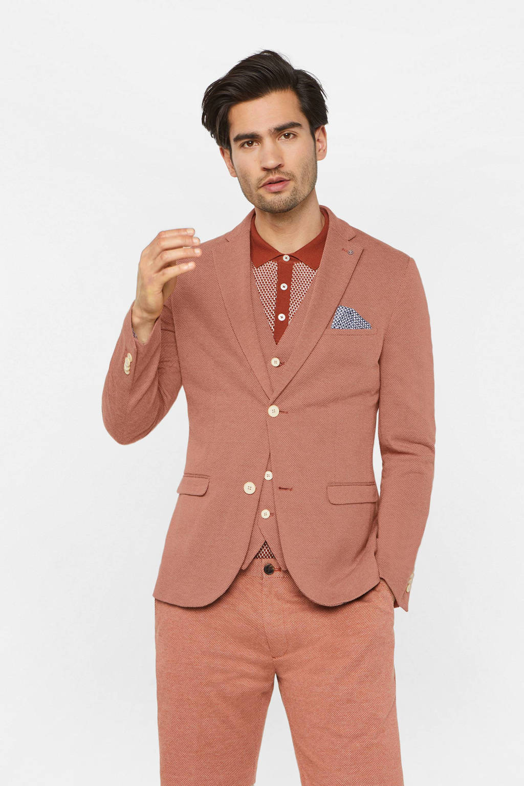 WE Fashion slim fit colbert rood, Rood