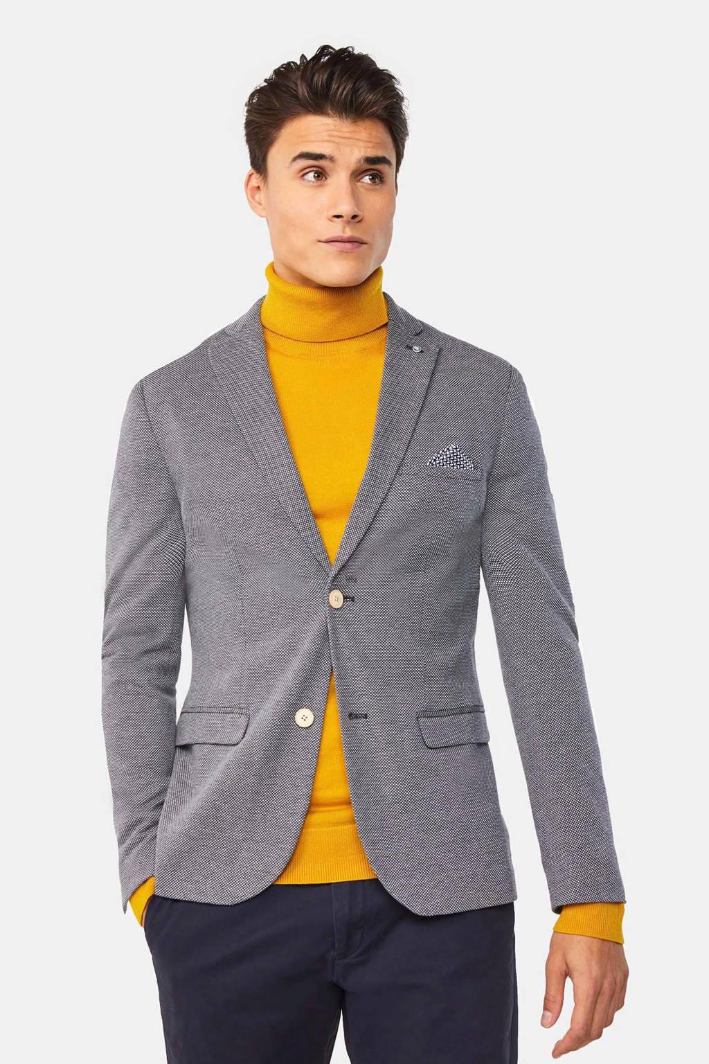 WE Fashion gemêleerd regular fit colbert blauw/grijs, Blauw/grijs