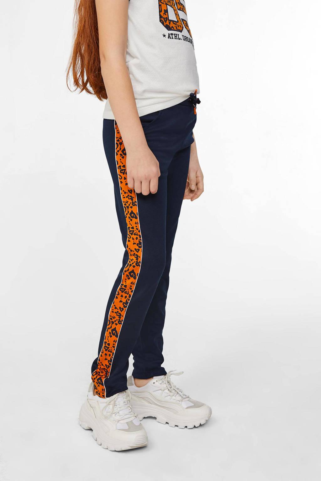 WE Fashion broek met zijstreep donkerblauw/oranje/zilver, Donkerblauw/oranje/zilver