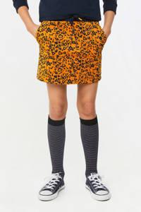 WE Fashion rok met all over print oranje/donkerblauw, Oranje/donkerblauw