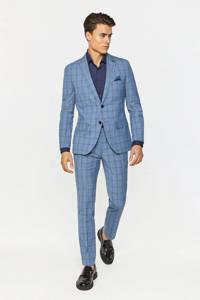 WE Fashion geruit slim fit colbert met wol intense blue, Intense Blue
