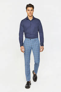 WE Fashion geruite slim fit pantalon met wol intense blue, Intense Blue