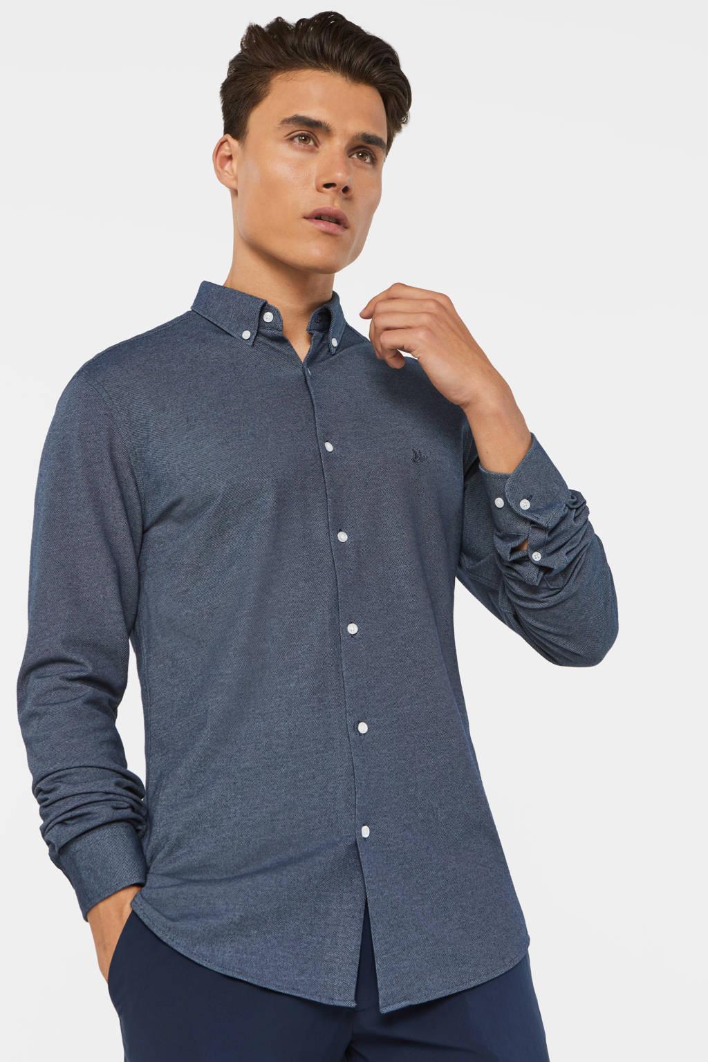 WE Fashion slim fit overhemd met logo grijsblauw, Grijsblauw