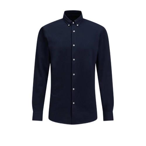 WE Fashion regular fit overhemd donkerblauw