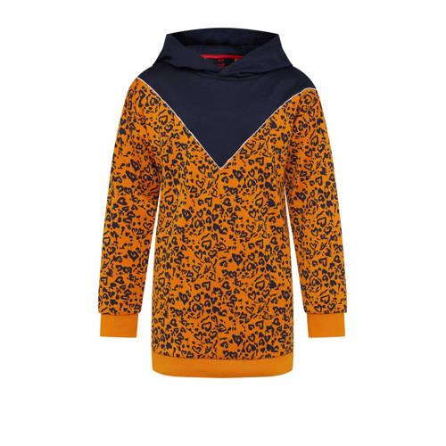 WE Fashion sweatjurk met contrastbies oranje/donke