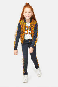 WE Fashion bomberjack met contrastbies oranje/donkerblauw, Oranje/donkerblauw