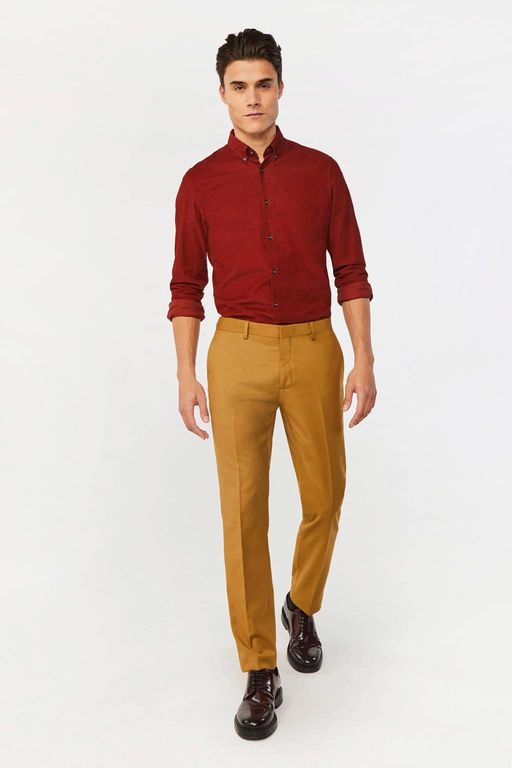 WE Fashion gemêleerde slim fit chino geel, Geel