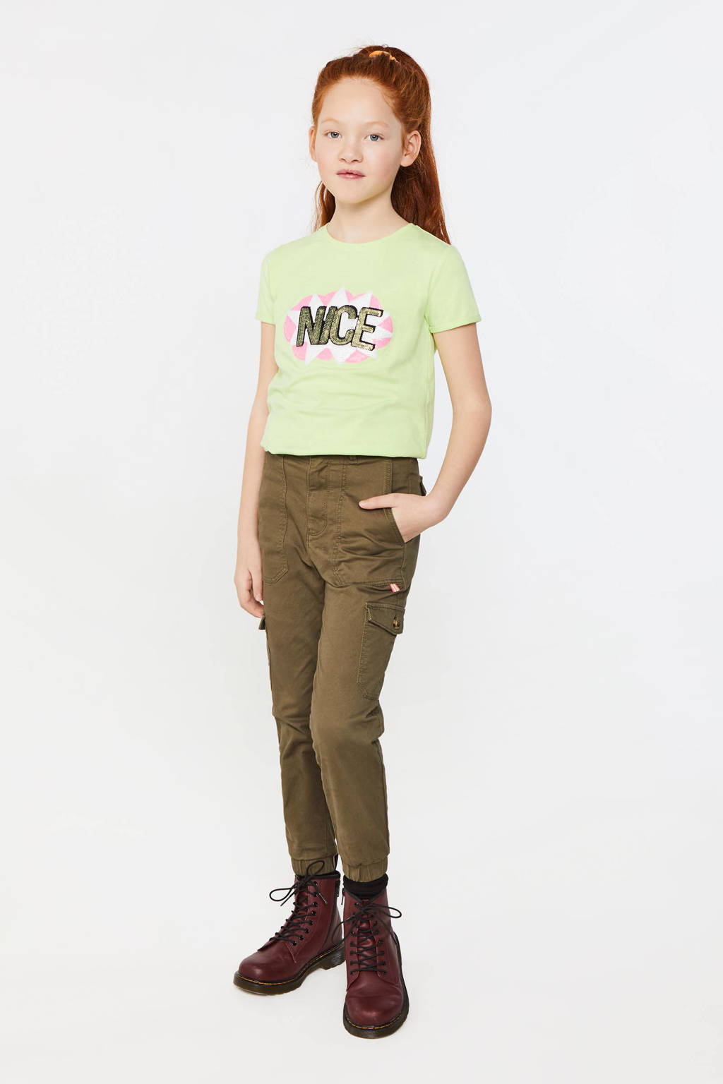 WE Fashion Blue Ridge slim fit broek donkergroen, Donkergroen