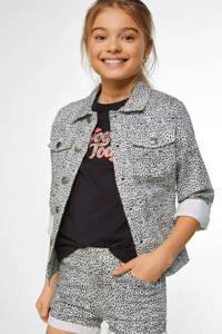WE Fashion Blue Ridge spijkerjas met dierenprint wit/zwart, Wit/zwart