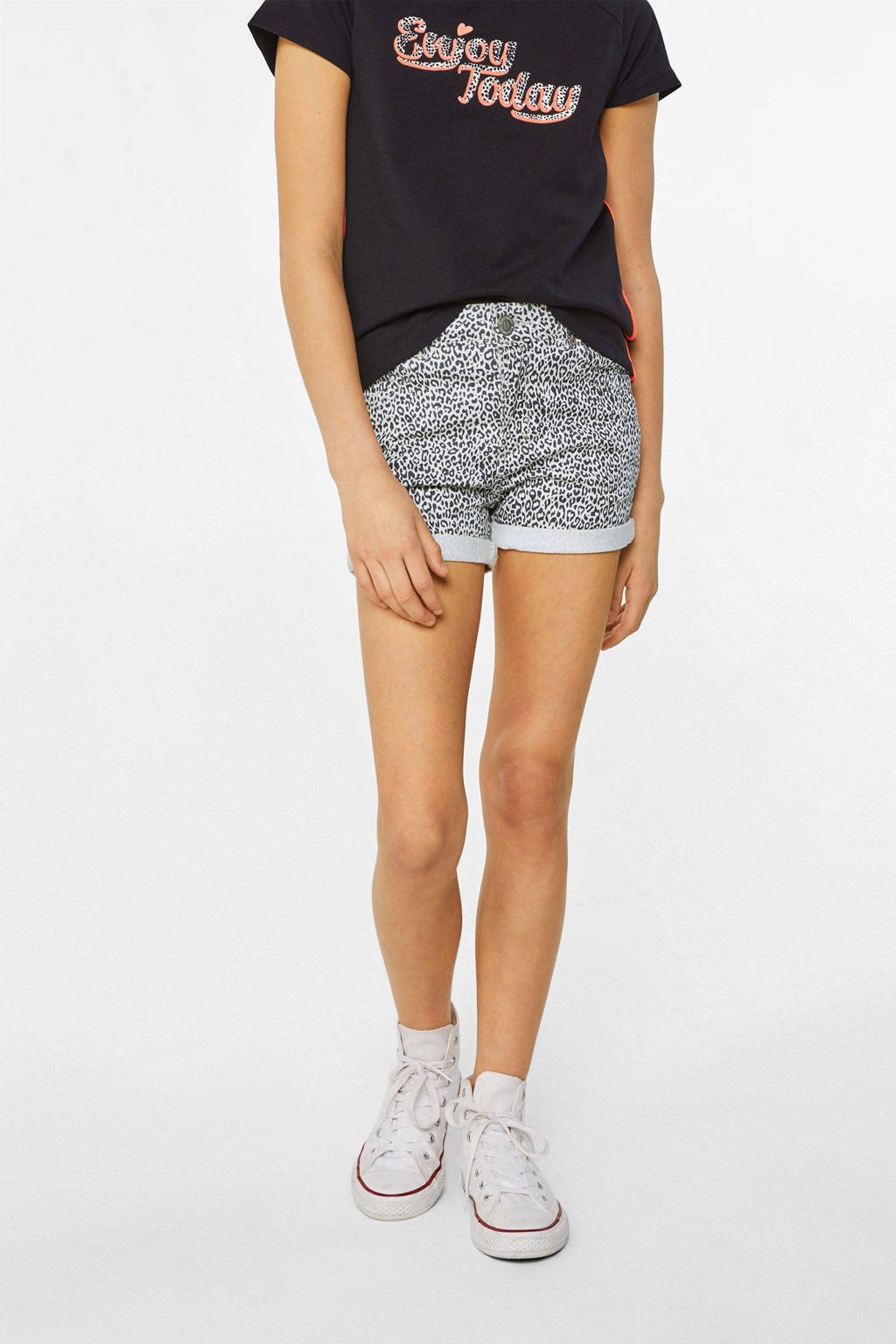 Wonderbaarlijk WE Fashion Blue Ridge korte broek met panterprint wit/zwart | wehkamp TF-73