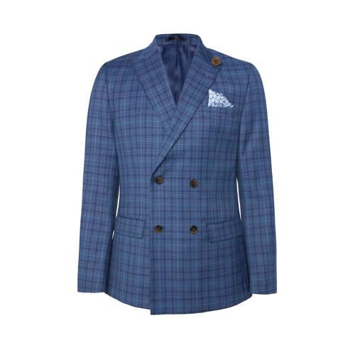 WE Fashion geruit slim fit colbert royal navy