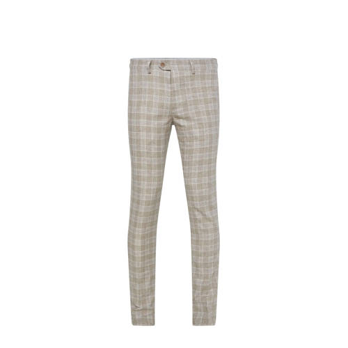 WE Fashion geruite slim fit pantalon sesame
