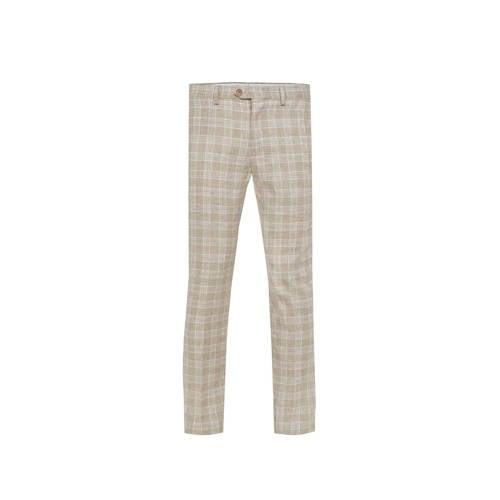 WE Fashion geruite slim fit pantalon met linnen se