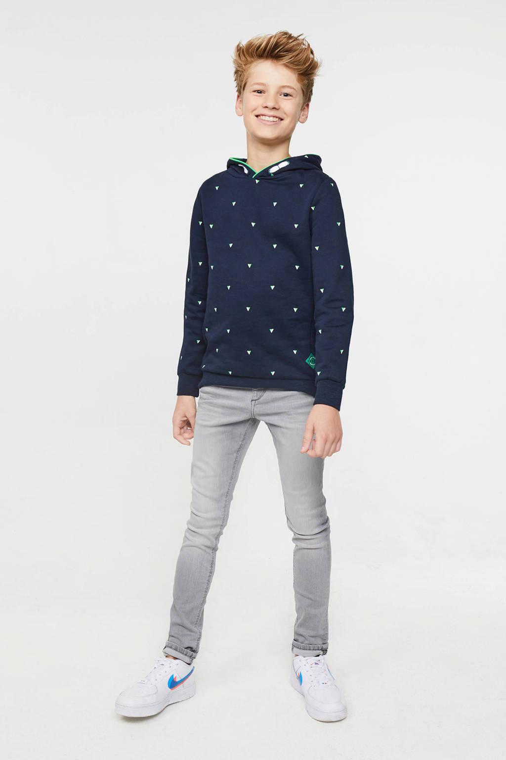 WE Fashion hoodie met all over print donkerblauw, Donkerblauw