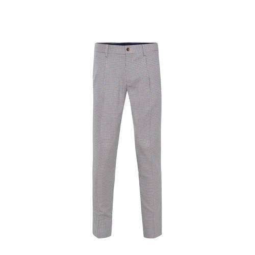 WE Fashion geruite regular fit pantalon sesame