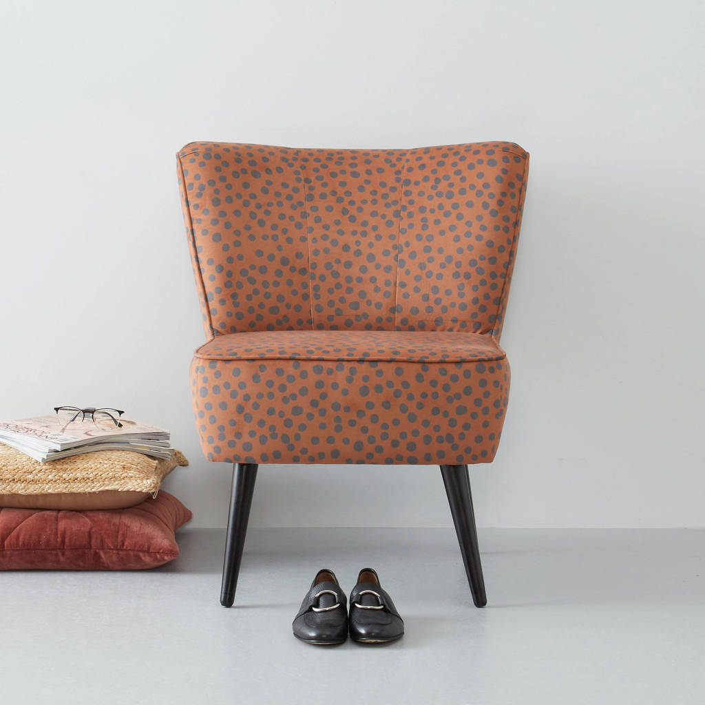whkmp's own fauteuil Coco velours, Bruin/grijs